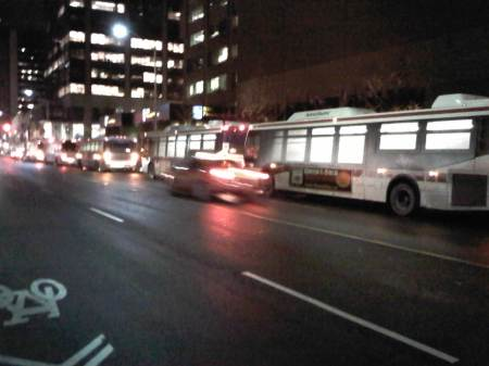 Five TTC buses sighted waiting at Yonge and Bloor at ~12:30 am on Tues Dec 14.
